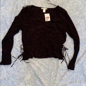 NWT black button blouse